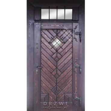 drzwi-wejsciowe-rustykalne-ze-świetlikiem