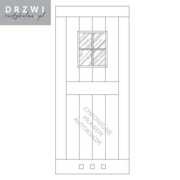 Drzwi łazienkowe przesuwne z drewna w stylu rustykalnym