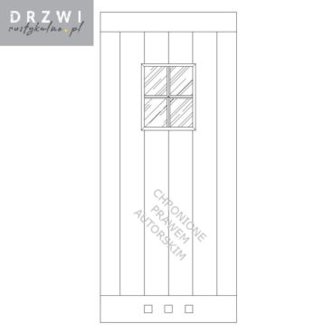 Proste drzwi łazienkowe przesuwne z okienkiem