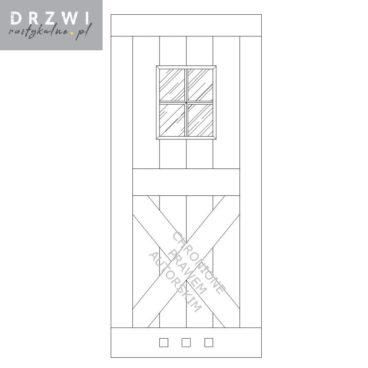 Drewniane drzwi przesuwne z okienkiem do łazienki